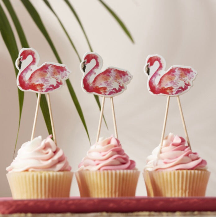 Ginger Ray Flamingo Cupcake Food Toppers