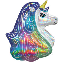 "Load image into Gallery viewer, Rainbow Unicorn Iridescent Supershape Balloon - 30"" Foil"