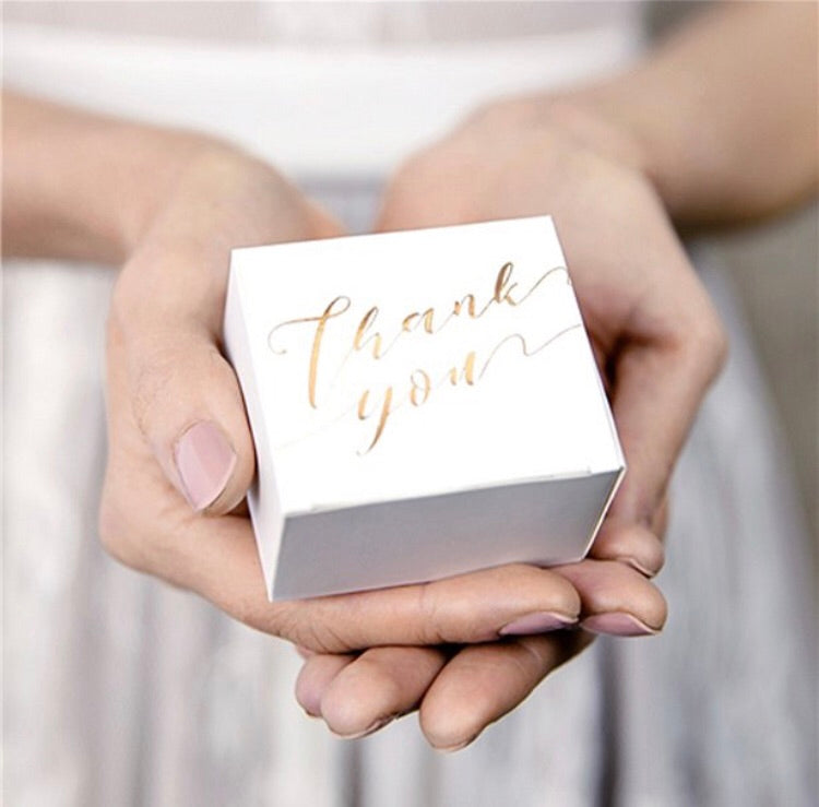 Gold Thank You Favour Boxes Pack of 10