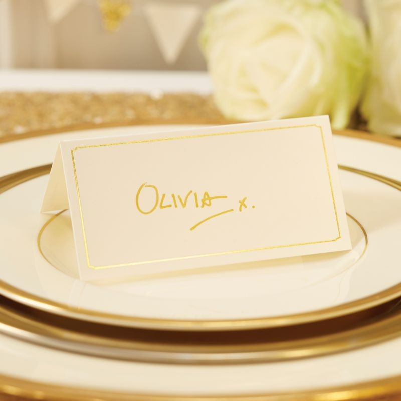 Ginger Ray Ivory and Gold Foiled Edged Place Cards
