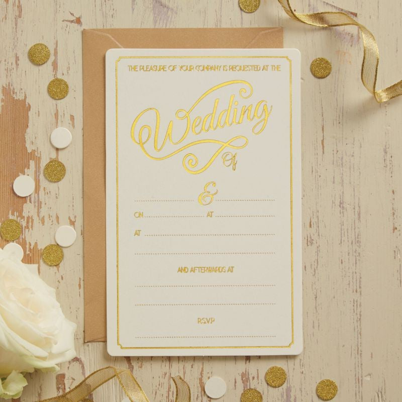 Ginger Ray Ivory and Gold Foiled Wedding Invitations