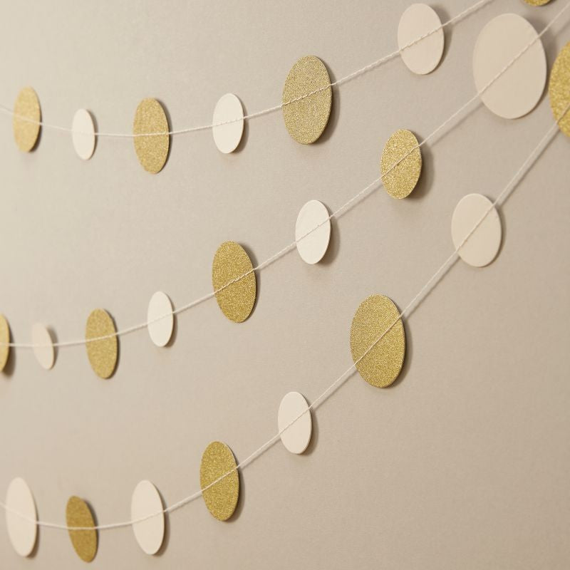 Ginger Ray Ivory and Gold Glitter Circle Garland