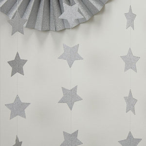 Ginger Ray Silver Glitter Star Garland