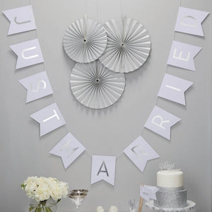 Ginger Ray White & Silver Just Married Bunting