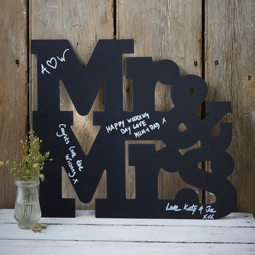 Ginger Ray Mr & Mrs Chalkboard Hanging Wooden Guest Book
