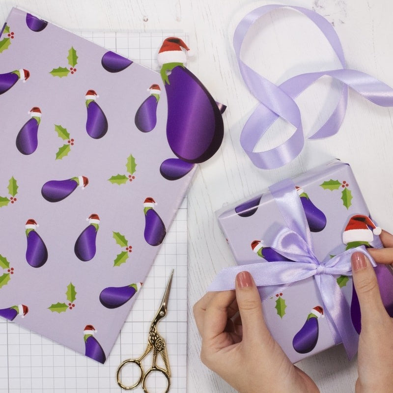 Aubergine Christmas Wrapping Kit