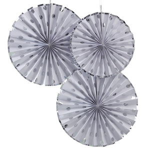 Ginger Ray Silver Foiled Polka Dot Paper Fan Decorations