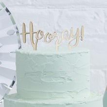 Load image into Gallery viewer, Ginger Ray 'Hooray' Wooden Cake Topper