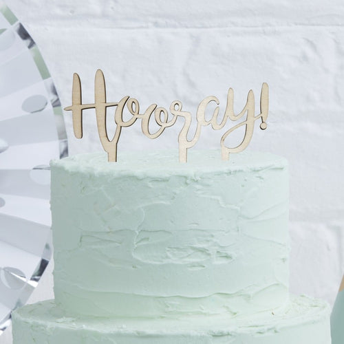 Ginger Ray 'Hooray' Wooden Cake Topper