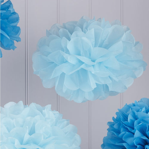 Blue Tissue Paper Pom Poms Pack of 5