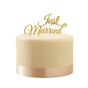 Ginger Ray Sparkling Gold Just Married Cake Topper