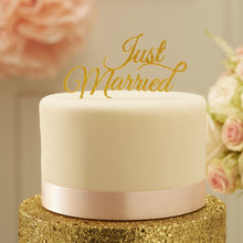 Load image into Gallery viewer, Ginger Ray Sparkling Gold Just Married Cake Topper