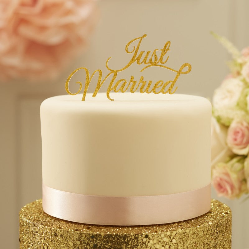 Fantastic Ginger Ray Sparkling Gold Just Married Cake Topper Because Im Funny Birthday Cards Online Aboleapandamsfinfo