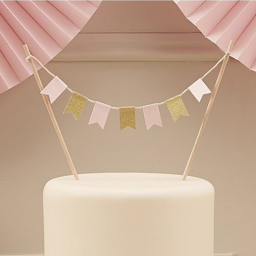 Ginger Ray Pink & Gold Cake Bunting Decoration