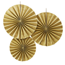 Load image into Gallery viewer, Ginger Ray Gold Pinwheel Fan Decorations