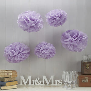 Ginger Ray Purple Tissue Paper Pom Poms