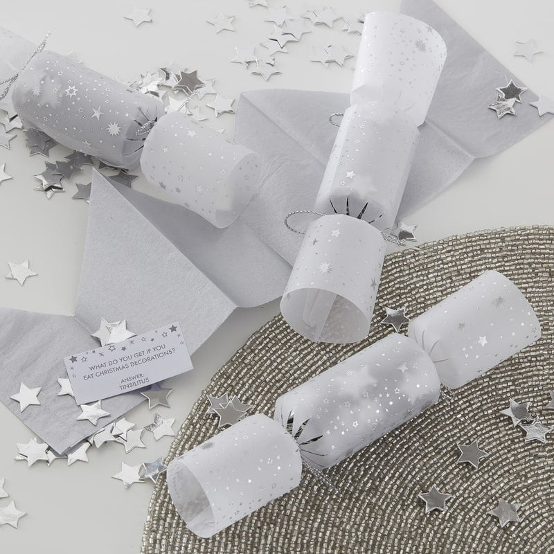 Silver Confetti Filled Christmas Cracker Decorations