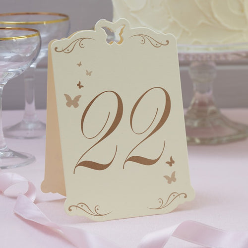 Ginger Ray Flutterfly Table Numbers Ivory & Gold