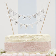Load image into Gallery viewer, Ginger Ray 'Just Married' White Cake Bunting Topper