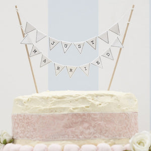 Ginger Ray 'Just Married' White Cake Bunting Topper