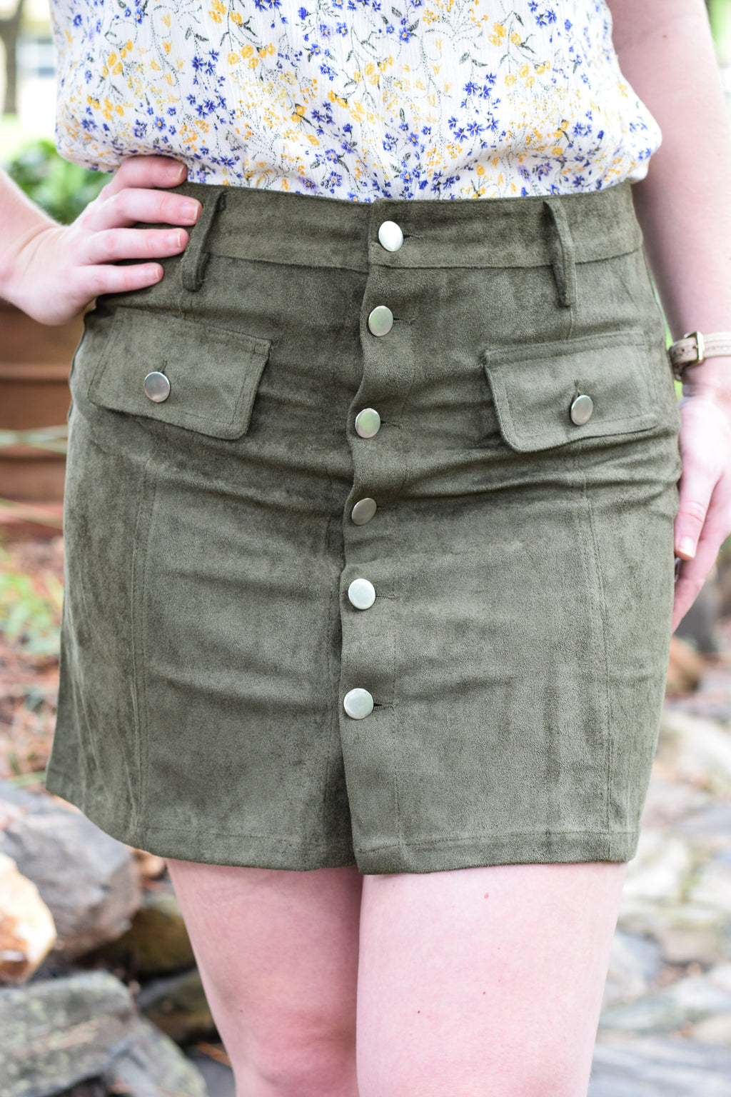 Hunter Green Button Down Skirt
