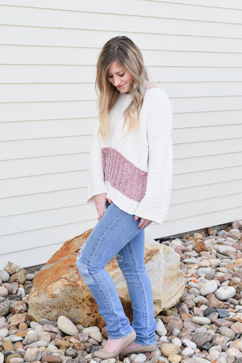 Champagne Dreams Cable Knit Sweater