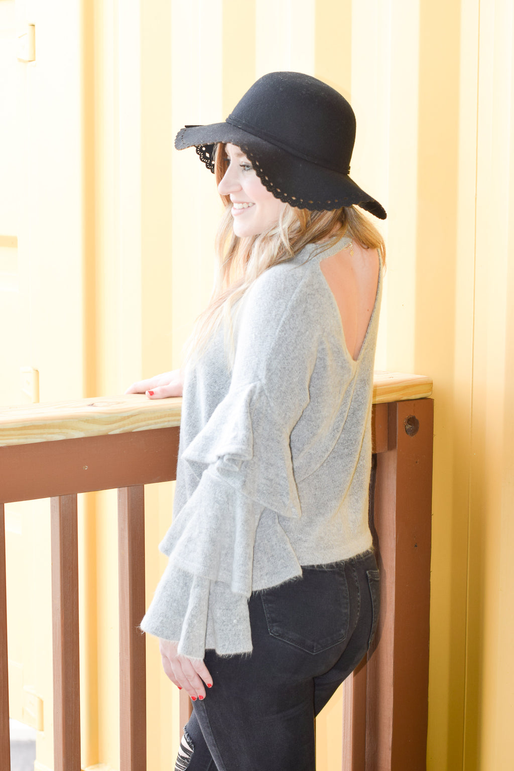 Brooklyn Gray Ruffled Sweater Top