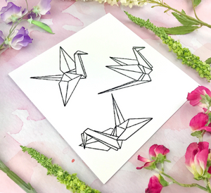 Embroidered Origami Cranes