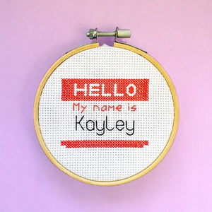 Hello, My Name Is... Cross Stitch Kit - Pulp Stitchin'