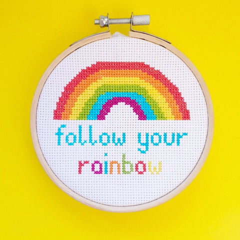 Follow Your Rainbow Cross Stitch Kit - Pulp Stitchin