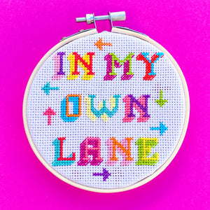 In My Own Lane Cross Stitch Kit - Pulp Stitchin