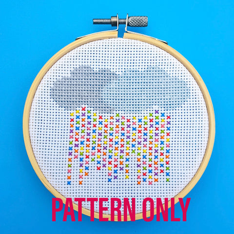 Rainbow Rain Cross Stitch Pattern - Pulp Stitchin