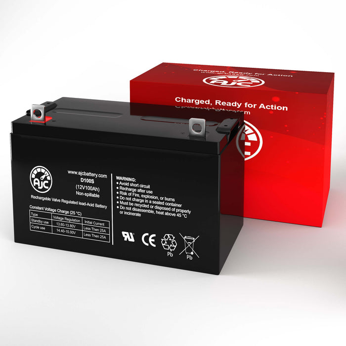 AJC Battery Brand Replacement for Werker WKDC12-100P 12V 100Ah batteria di ricambio di carrozzella-2