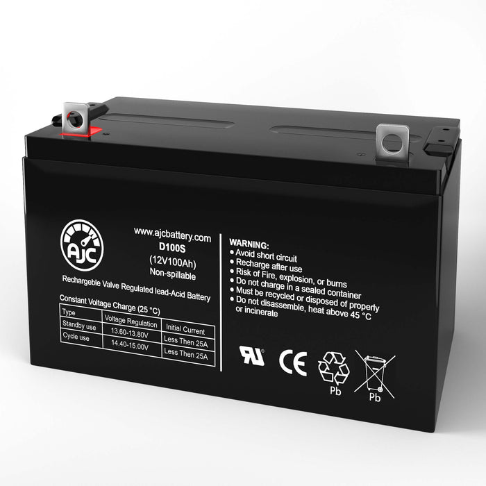AJC Battery Brand Replacement for Werker WKDC12-100P 12V 100Ah batteria di ricambio di carrozzella-1