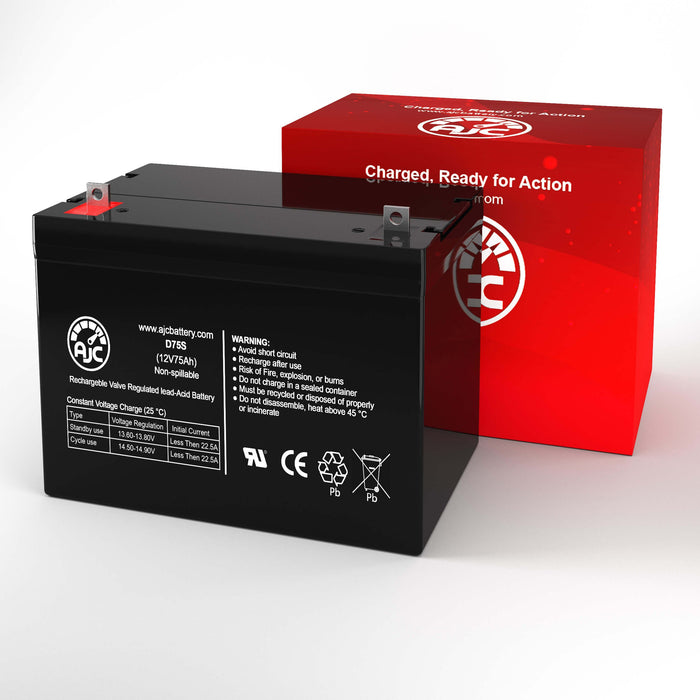 AJC Battery Brand Replacement for Werker WKDC12-80P 12V 75Ah batteria di ricambio di carrozzella-2