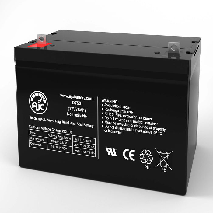 AJC Battery Brand Replacement for Werker WKDC12-80P 12V 75Ah batteria di ricambio di carrozzella-1