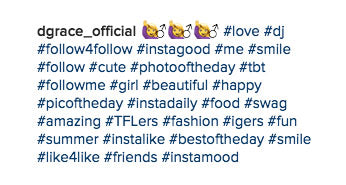 exemple hashtags populaires instagram