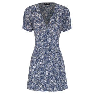100% silk wrap mini dress in blue linear floral print