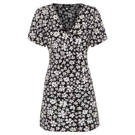 100% silk wrap mini dress in black and white floral print