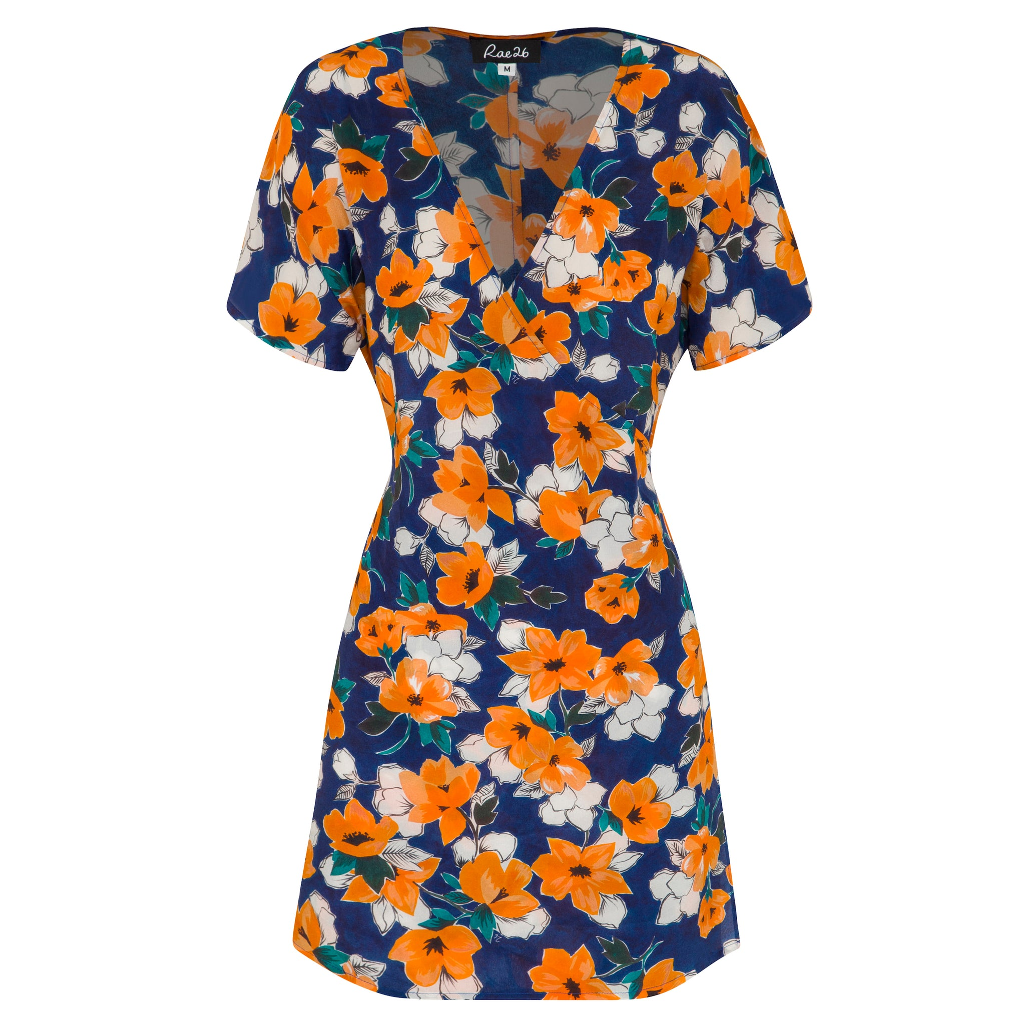 100% silk wrap mini dress in painterly floral print