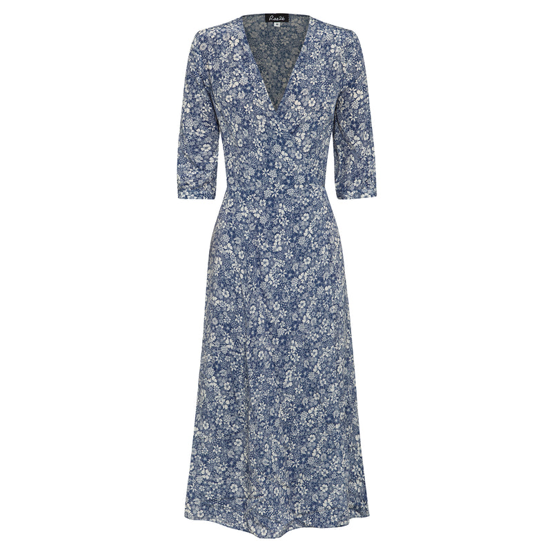 100% silk, midi length wrap dress in blue linear floral print