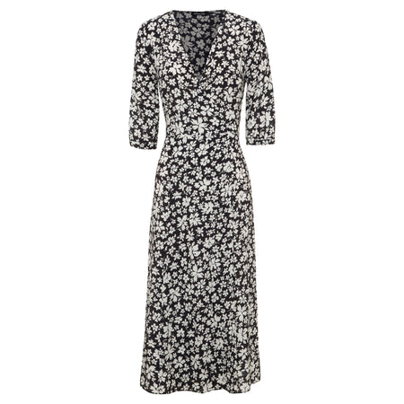 100% silk, midi length wrap dress in black and white floral print