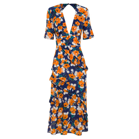 100% silk, midi length, backless dress in painterly floral print