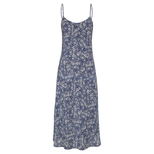 100% silk slip dress in linear floral print