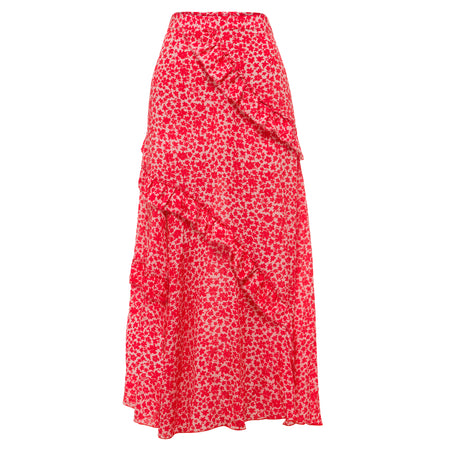 100% silk, midi length skirt in peach floral print