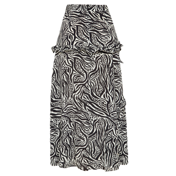 100% silk, midi length skirt in black and white animal print