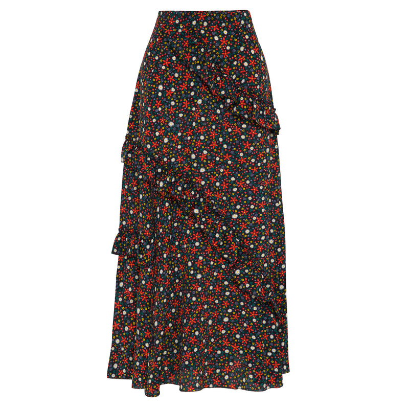 100% silk, midi length skirt in black based ditsy floral print