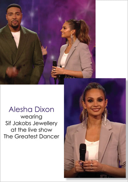Aleshia Dixion trägt Sif Jakobs Jewellery bei der Live-Show The Greatest Dancer