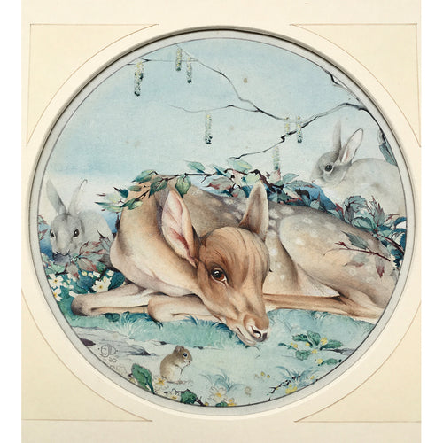 DETMOLD, Edward Julius (artist). An original watercolour painting of a fawn surrounded by forest animals.