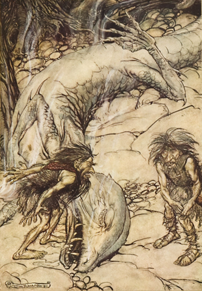 The dwarfs quarreling over the body of Fafner